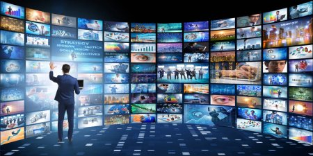 Photo for Concept of streaming video with businessman - Royalty Free Image