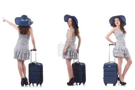 Photo pour Femme avec valise isolée sur blanc - image libre de droit