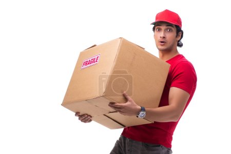Photo for Young male courier with box - Royalty Free Image