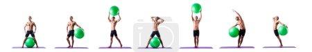 Photo pour Homme avec balle suisse faisant des exercices sur blanc - image libre de droit