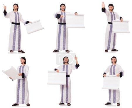 Photo pour Arabe avec du papier blanc isolé sur blanc - image libre de droit