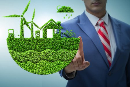 Photo pour Homme d'affaires dans le concept écologique vert - image libre de droit