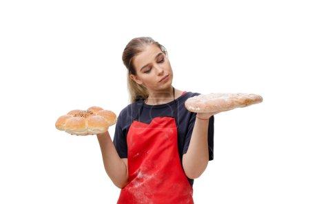 Photo pour Jeune boulanger femelle isolé sur blanc - image libre de droit