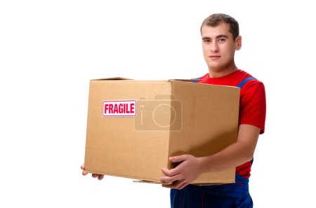 Photo for Young male courier with box isolated on white - Royalty Free Image