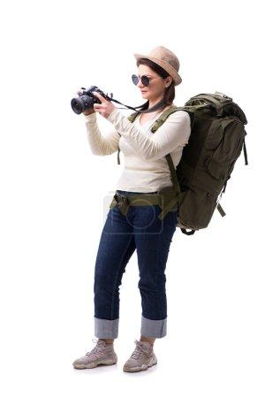 Photo pour Touriste féminine âgée isolée sur blanc - image libre de droit