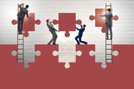 Photo for Businessman in the teamwork concept with jigsaw puzzle - Royalty Free Image