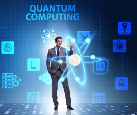 Photo for The businessman pressing virtual button in quantum computing concept - Royalty Free Image