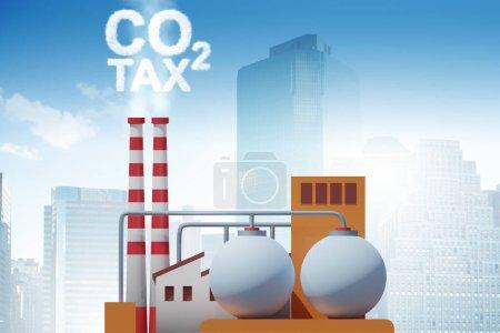 Photo pour L'usine dans la taxe carbone et le concept de pollution - rendu 3d - image libre de droit