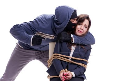 Photo for The kidnapper with tied woman isolated on white - Royalty Free Image
