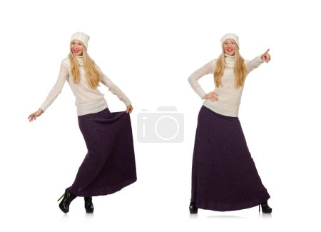 Photo pour La jolie fille en robe longue violette isolée sur blanc - image libre de droit