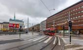 STOCKHOLM, SWEDEN - OCTOBER 23, 2018: Sergels torg attracts tourists. Sergels torg general square of Stockholm. In center stands 38-meter glass column sculptor Edwin Erstrema Crystal.