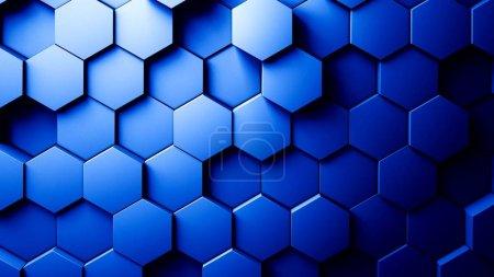 Photo pour Abstrait hexagones fond bleu couleur 3d rendu - image libre de droit