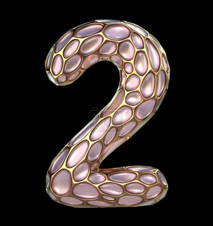 Number 2 two made of golden shining metallic 3D with pink glass isolated on black background.