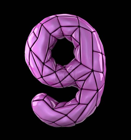 Number 9 nine in low poly style pink color isolated on black background. 3d