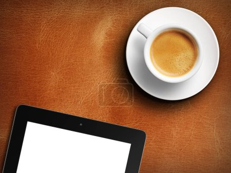 Photo for Tablet white screen similar to ipad display and coffee on background 3d rendering - Royalty Free Image