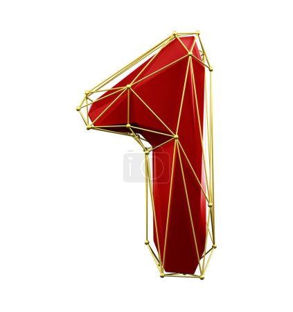 Photo for Low poly style number 1. Red and gold color isolated on white background. 3d rendering - Royalty Free Image