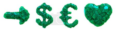 Photo for Symbol plastic set arrow, dollar, euro, heart made of 3d render plastic shards green color. Collection of plastic alphabet isolated on white. - Royalty Free Image