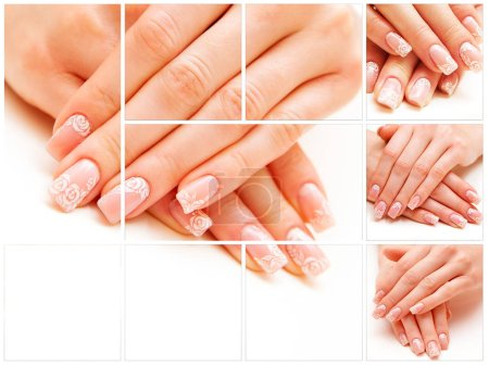 Trendy manicured nails on white background.