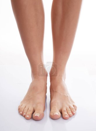 Photo for View of healthy sleek female legs isolated on white background - Royalty Free Image