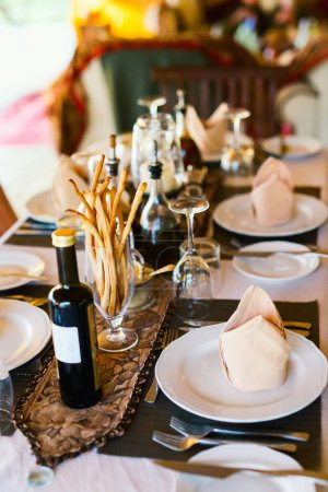 Photo for Table setting in a restaurant for romantic lunch or dinner - Royalty Free Image