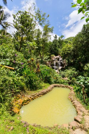 Beautiful landscape of mud bath and waterfalls on St Lucia island in Caribbean
