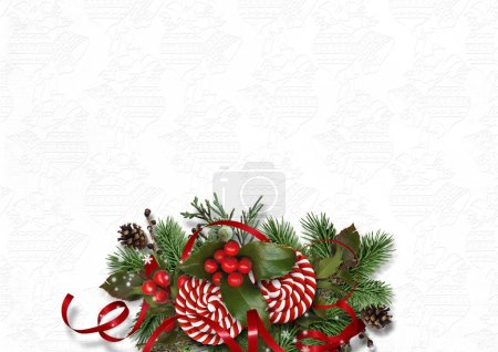 Photo for Christmas background with border of firtree and holly on white - Royalty Free Image