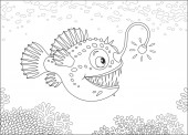 Anglerfish hunting deep in a sea black and white vector illustration in a cartoon style for a coloring book