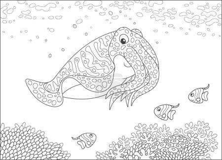 sepia y pequeños peces mariposa nadando sobre corales en un arrecife en un mar tropical, ilustración vectorial en blanco y negro en un estilo de dibujos animados para un libro para colorear
