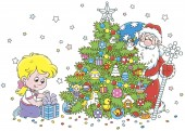 Little girl with her gift and Santa Claus who hiding and peeking out from behind a colorfully decorated Christmas tree vector illustration in a cartoon style
