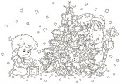Little girl with her gift and Santa Claus who hiding and peeking out from behind a decorated Christmas tree black and white vector illustration in a cartoon style