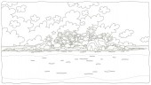 Small desert island with rocks and palms in a tropical sea black and white vector illustration in a cartoon style for a coloring book