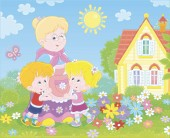 Granny and her little grandchildren smiling and hugging among colorful flowers on a green lawn in front of a village house on a sunny summer day vector illustration in a cartoon style