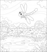 Funny dragonfly flying over a meadow with flowers and a small pond on a pretty summer day black and white vector illustration in a cartoon style for a coloring book