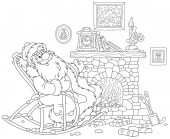 Santa Claus sitting in his creaking rocking chair and basking by an old fireplace with a mantel clock after a winter walk through a snowy forest black and white vector illustration in a cartoon style for a coloring book