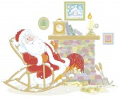 Santa Claus sitting in his creaking rocking chair and basking by an old fireplace with a mantel clock after a winter walk through a snowy forest vector illustration in a cartoon style