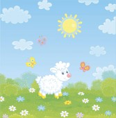 Little white lamb and flittering colorful butterflies among flowers on green grass of a meadow on a sunny summer day vector illustration in a cartoon style