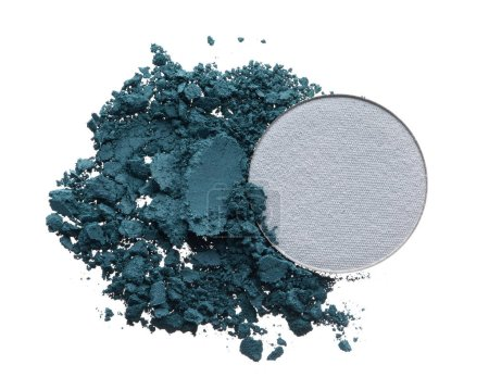 Crushed texture of navy blue and grey eye shadow isolated on white background. Macro texture of broken dark blue and grey powder on white background