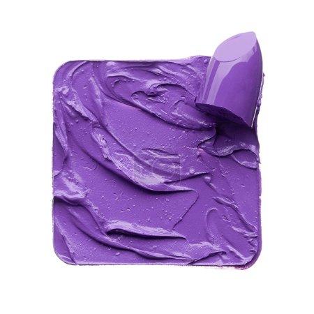Purple makeup smear of lip gloss isolated on white background. Purple lipstick texture isolated on white background. Stencil square made by broken purple lipstick