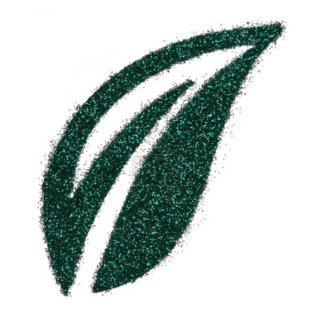 Bright and original green glitter background, in the form of a leaf stencil