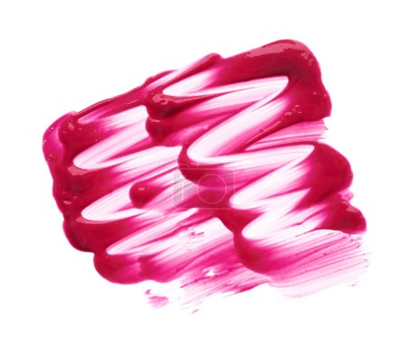 Red makeup smear of lip gloss isolated on white background. Red creamy lipstick texture isolated on white background