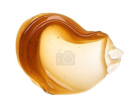 Photo pour Frottis jaune transparent de crème pour le visage ou miel doré isolé sur fond blanc. Texture honet crémeuse dorée sur fond blanc - image libre de droit