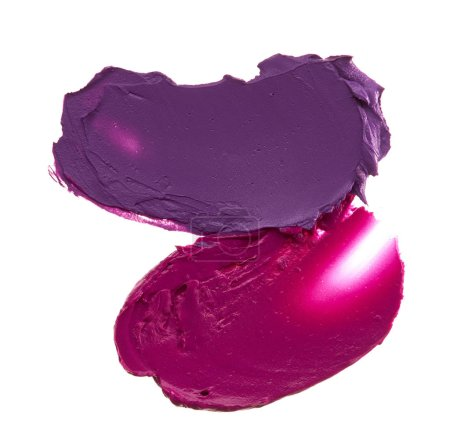 Smears of lipstick on white background, various colors