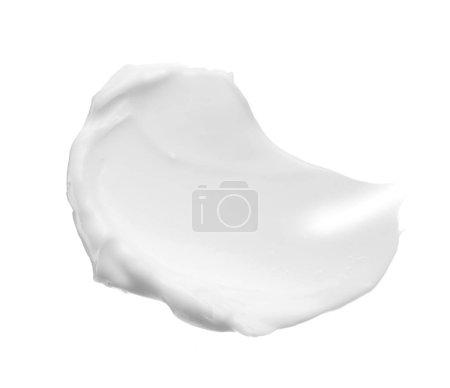 Photo pour Frottis et texture de crème pour le visage ou de peinture acrylique blanche isolée sur fond blanc - image libre de droit