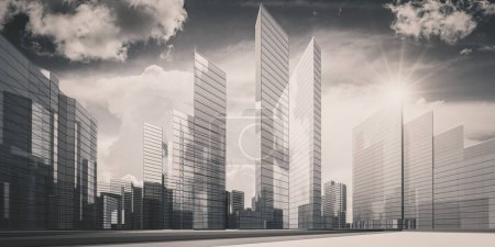 Photo for City in clouds - concept architecture project. 3d rendering - Royalty Free Image