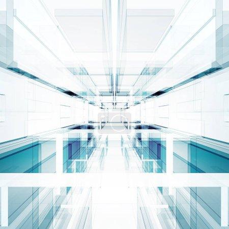 Technologie abstraite intérieur. Futuriste moderne rendu 3D