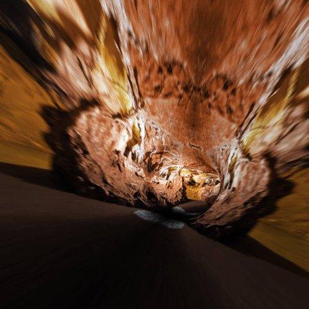 Underground caves background. Mixed media