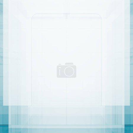 Photo pour Design abstrait bleu. Concept vue arrière plan rendu 3D - image libre de droit