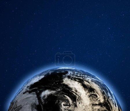 Photo pour Nuages de terre planète depuis l'espace. Éléments de cette image fournie par la Nasa. rendu 3D - image libre de droit