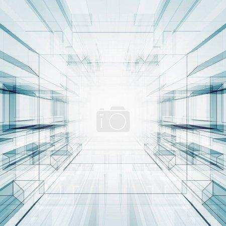 Photo pour Technologie abstraite intérieur. Futuriste moderne rendu 3D - image libre de droit