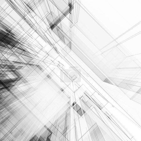 Photo pour Abstrait architecture. Vue 3d rendu en arrière-plan de la notion - image libre de droit